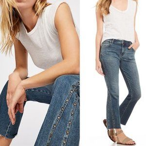 Free People Studded Novelty Crop Flare Jeans 29